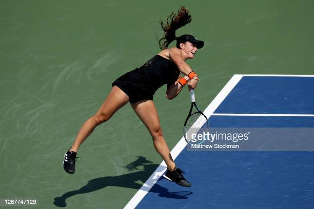 Maria Sakkari of Greece serves to Cori Gauff during the Western & Southern Open at the USTA Billie Jean King National Tennis Center on August 22,...