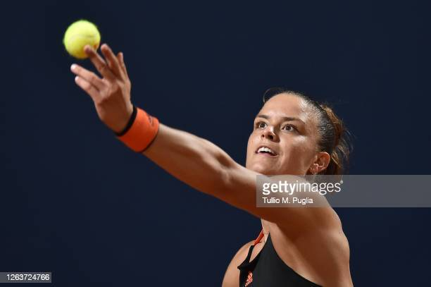 Maria Sakkari of Greece serves to Kristyna Pliskova of Czech Republic during the 31st Palermo Ladies Open - Day One on August 03, 2020 in Palermo,...