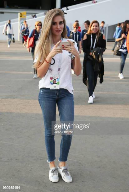 Maria Salaues girlfriend of Paul Pogba of France leaves the stadium following the 2018 FIFA World Cup Russia Quarter Final match between Uruguay and...