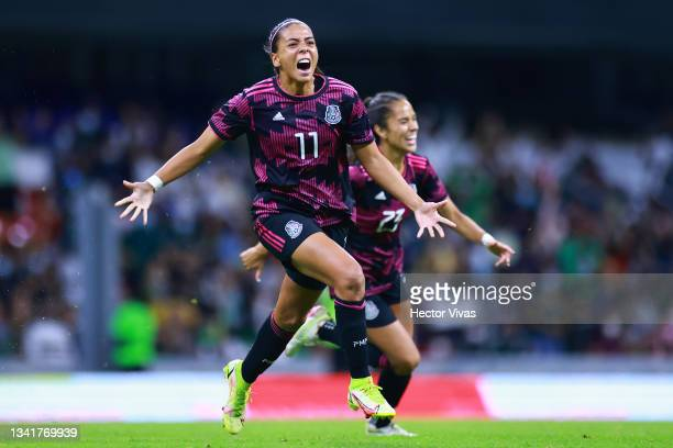 Maria Sanchez of Mexico celebrates after scoring the second goal of her team during the women's international friendly between Mexico and Colombia at...