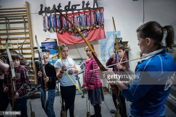 Maria Savenkova, former European archery champion, teaching a class on December 8, 2019 in Moscow, Russia. The country's archers have enjoyed modest...