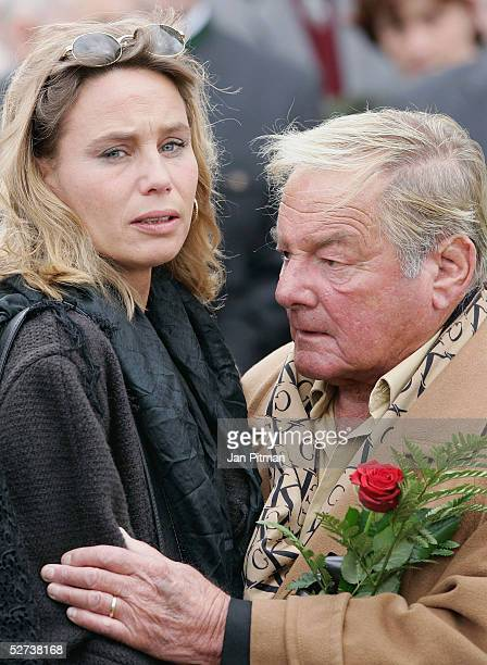 Maria Schell's brother Carl Schell and her daughter Marie Theres KroetzRelin attend the funeral of actress Maria Schell at the Nikolaus church on...