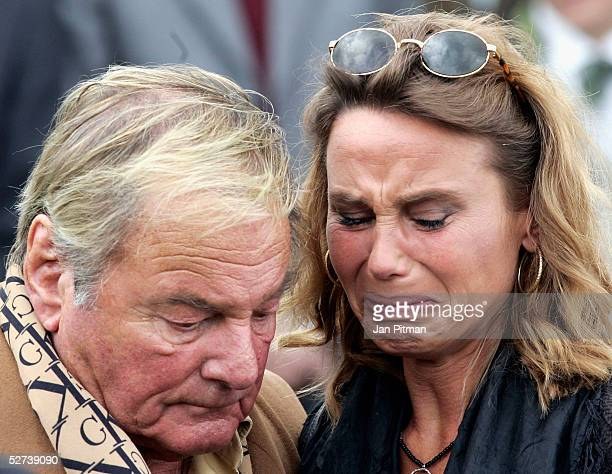 Maria Schell's brother Carl Schell left and her daughter Marie Theres KroetzRelin right attend the funeral of actress Maria Schell at the Nikolaus...
