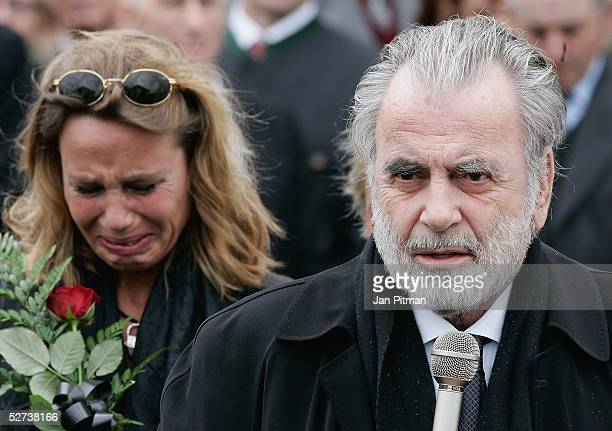 Maria Schell's brother Maximilian Schell and her daughter Marie Theres KroetzRelin attend the funeral of actress Maria Schell at the Nikolaus church...