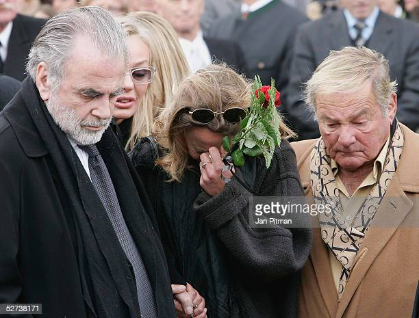 Maria Schell's brothers Maximilian Schell Carl Schell and her daughter Marie Theres KroetzRelin attend the funeral of actress Maria Schell at the...