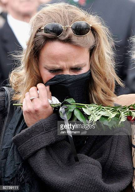 Maria Schell's daughter Marie Theres KroetzRelin attends the funeral of actress Maria Schell at the Nikolaus church on April 30 2005 in Preitenegg...