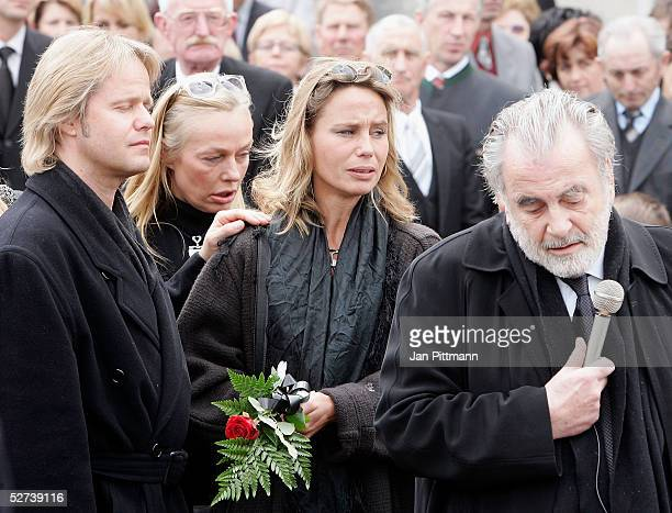 Maria Schell's son Oliver Schell left her brother Maximilian Schell right her daughter Marie Theres KroetzRelin second right and her sister in law...