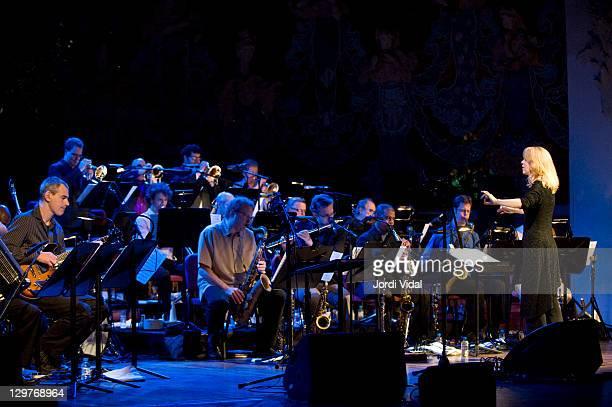 Maria Schneider conducts the Maria Schneider Ochestra on stage during Festival Internacional de Jazz de Barcelona at Palau De La Musica on October 20...