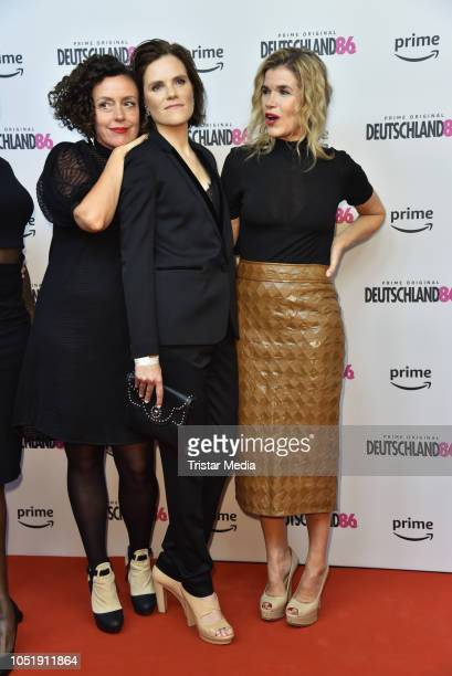Maria Schrader Fritzi Haberlandt and Anke Engelke attend the premiere for the film 'Deutschland86' at Kino International on October 11 2018 in Berlin...