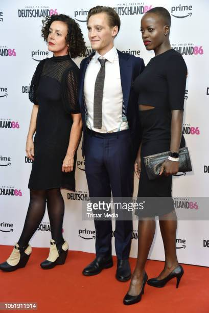 Maria Schrader Jonas Nay and Florence Kasumba attend the premiere for the film 'Deutschland86' at Kino International on October 11 2018 in Berlin...