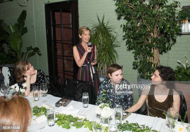Maria Semple Cindi Leive Lena Dunham and Ilana Glazer attend the Brilliant Minds Initiative dinner at Gramercy Park Hotel Rooftop on May 1 2018 in...