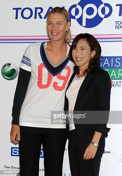 Maria Sharapova and Ai Sugiyama pose during a photo call at the Toray Pan Pacific Open tennis tournament at Ariake Colosseum on September 24 2010 in...