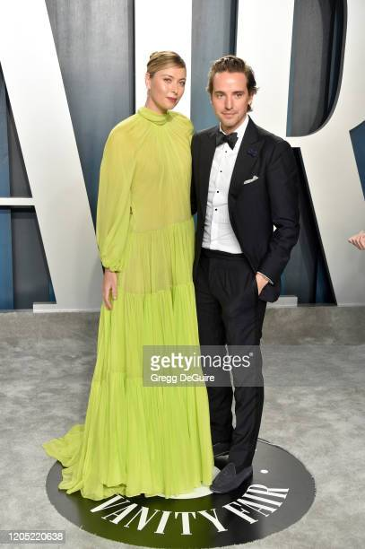 Maria Sharapova and Alexander Gilkes attend the 2020 Vanity Fair Oscar Party hosted by Radhika Jones at Wallis Annenberg Center for the Performing...