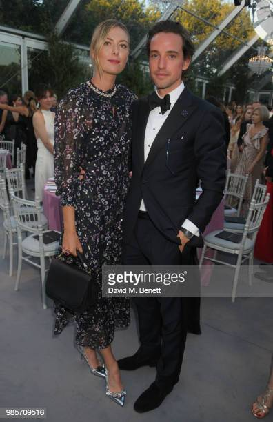 Maria Sharapova and Alexander Gilkes attend the Argento Ball for the Elton John AIDS Foundation in association with BVLGARI Bob and Tamar Manoukian...
