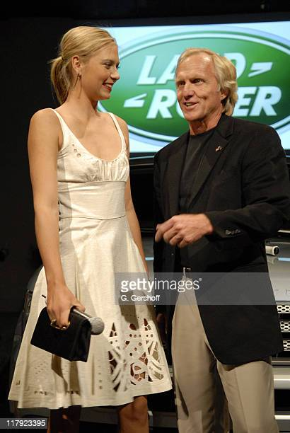 Maria Sharapova and Greg Norman during Land Rover Party with Maria Sharapova April 11 2006 at Newspace in Chelsea in New York City New York United...