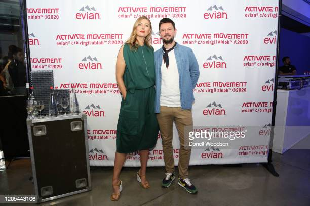 Maria Sharapova and guest attend the Evian Virgil Abloh Collaboration party at Milk Studios on February 10 2020 in New York City