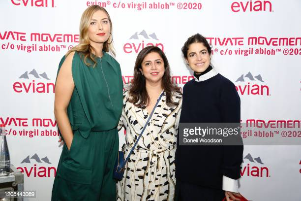 Maria Sharapova and guests attend the Evian Virgil Abloh Collaboration party at Milk Studios on February 10 2020 in New York City