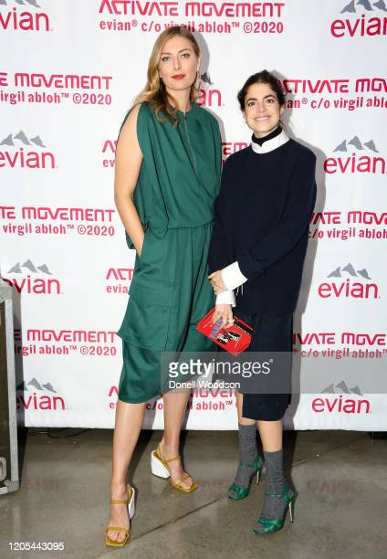 Maria Sharapova and Leandra Cohen attend the Evian Virgil Abloh Collaboration party at Milk Studios on February 10 2020 in New York City