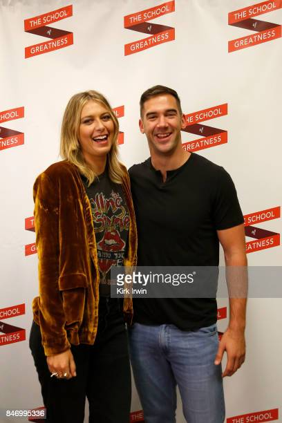 Maria Sharapova and Lewis Howes pose for a picture during the Summit of Greatness on September 14 2017 in Columbus Ohio