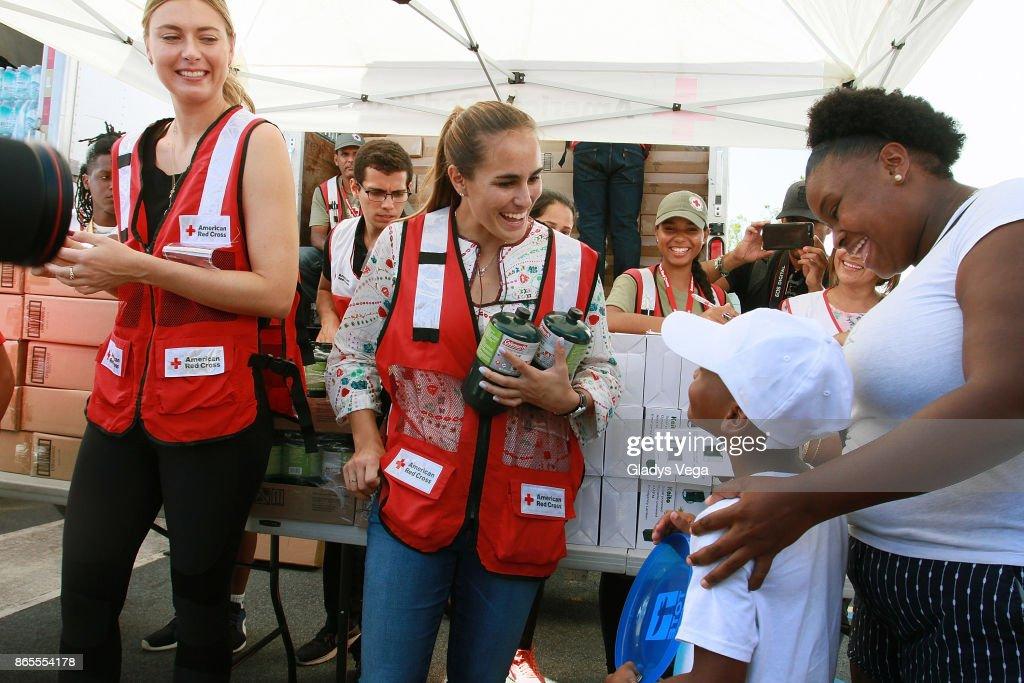 Maria Sharapova And Monica Puig Visit Puerto Rico To Aid In Hurricane Relief : News Photo