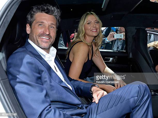 Maria Sharapova and Patrick Dempsey sit in the backseat of the new Porsche Panamera 4 EHybrid Executive at the Los Angeles Autoshow on November 16...