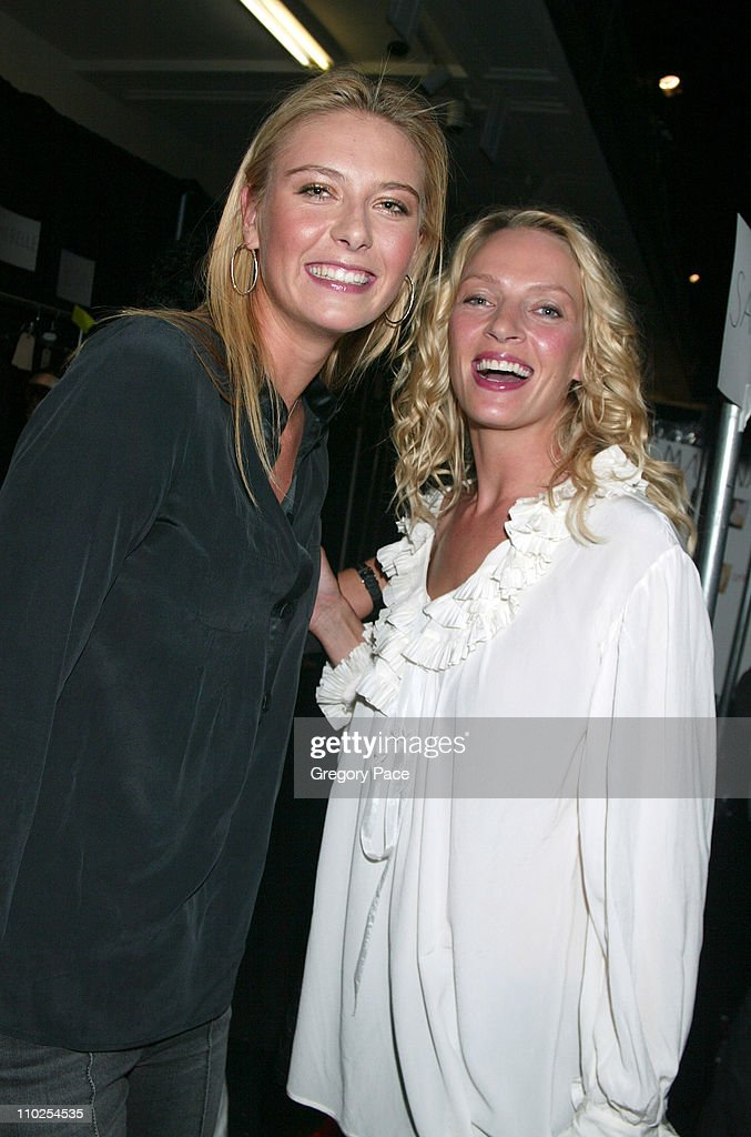 Maria Sharapova and Uma Thurman during Olympus Fashion Week Spring 2006 - Marc Jacobs - Front Row and Backstage at N.Y. State Armory in New York City, New York, United States.