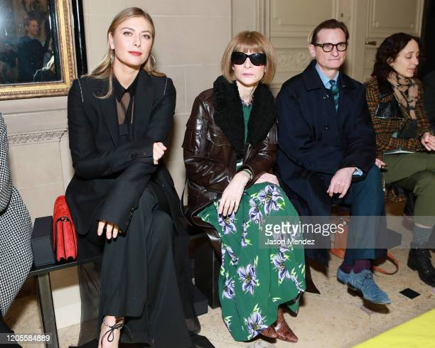 Maria Sharapova Anna Wintour and Hamish Bowles attend the Vera Wang fashion show during February 2020 New York Fashion Week on February 11 2020 in...