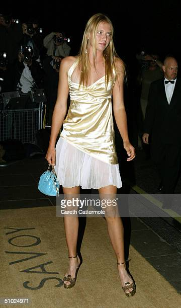 "Maria Sharapova arrives at the ""Wimbledon Champion's Dinner"" at The Savoy on July 4, 2004 in London. The annual dinner is organised by the All..."