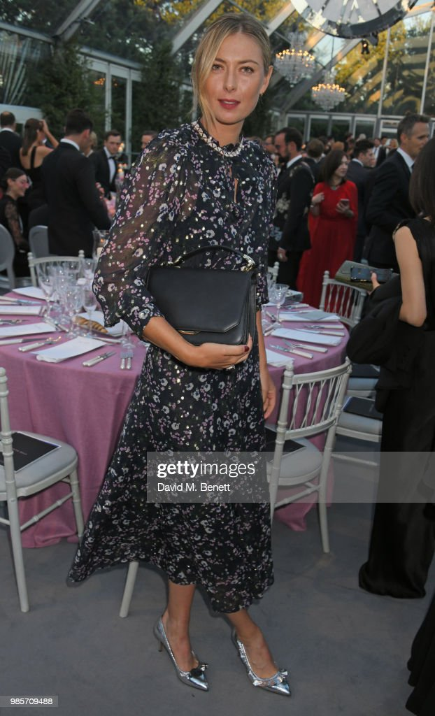 Maria Sharapova attends the Argento Ball for the Elton John AIDS Foundation in association with BVLGARI & Bob and Tamar Manoukian on June 27, 2018 in Windsor, England.