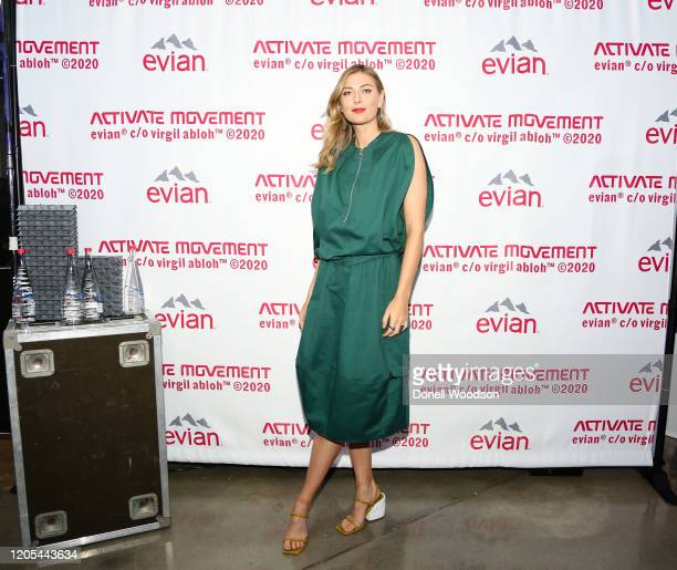 Maria Sharapova attends the Evian Virgil Abloh Collaboration party at Milk Studios on February 10 2020 in New York City