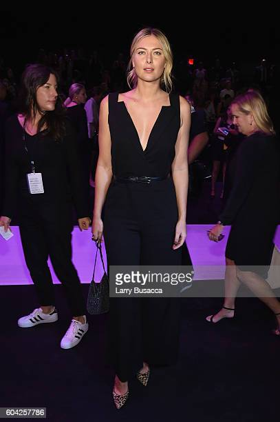 Maria Sharapova attends the Vera Wang Collection fashion show during New York Fashion Week The Shows at The Arc Skylight at Moynihan Station on...