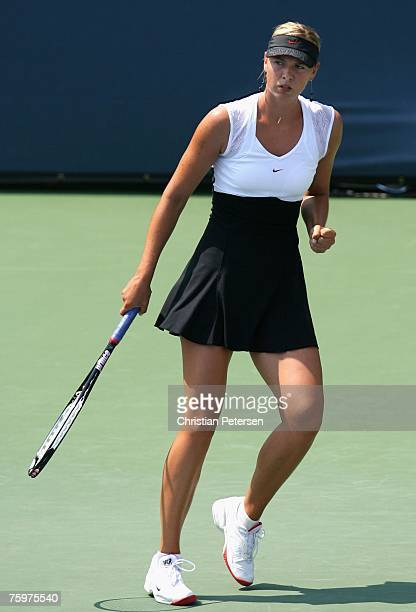 Maria Sharapova celebrates after a point against Patty Schnyder of Switzerland during the Day 7 final match of the Acura Classic at the La Costa...