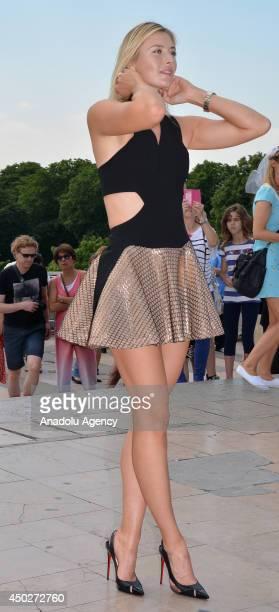 Maria Sharapova champion of Grand Slam tournament of the 2014 French Open pose at Trocadero Square of Paris France on June 8 2014