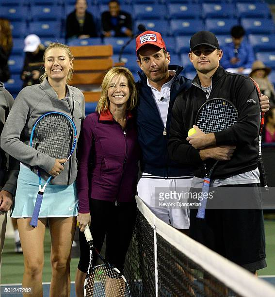 Maria Sharapova Chelsea Handler Will Arnett and Andy Roddick attend the Maria Sharapova and Friends tennis exhibition at UCLA on December 12 2015 in...