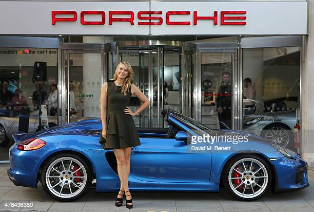 Maria Sharapova drops in at Porsche Mayfair to go for a spin in the UK's only brand new Porsche Boxster Spyder on her way to the WTA PreWimbledon...
