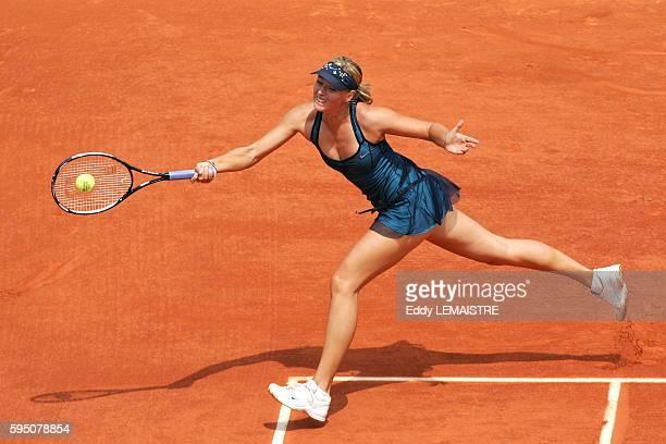 Maria Sharapova during her 2007 French Open at Roland Garros match against Anna Chakvetadze