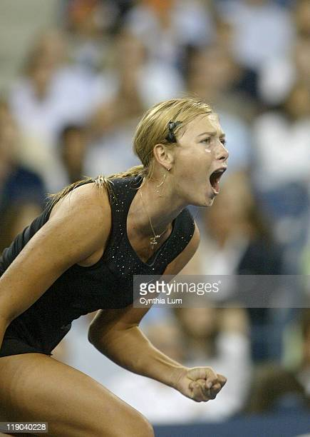 Maria Sharapova during her quarterfinal match against Tatiana Golovin at the 2006 US Open at the USTA Billie Jean King National Tennis Center in...