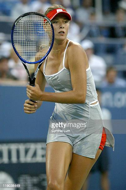 Maria Sharapova during her second round match against Jelena Jankovic at the 2004 US Open in the USTA National Tennis Center in New York on September...