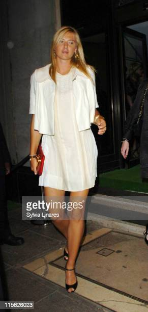 Maria Sharapova during PreWimbledon Party Departures at Kensington Roof Gardens in London Great Britain