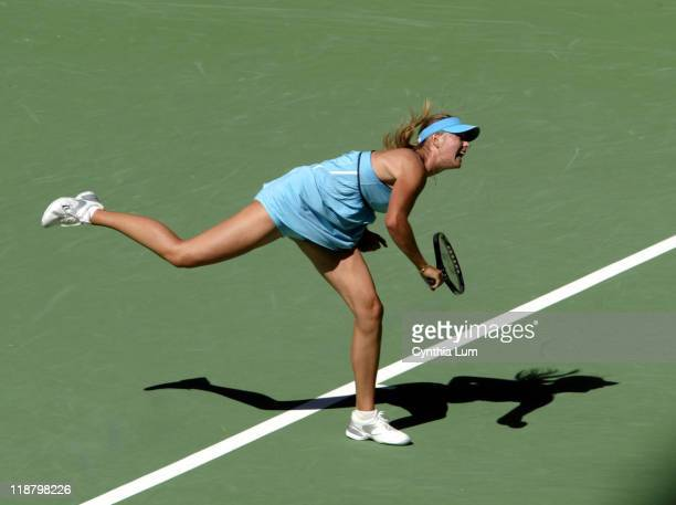 Maria Sharapova in action as she defeats Nadia Petrova 76 64 in the round of 16 at the Australian Open Melbourne Park Melbourne Australia on Tuesday...