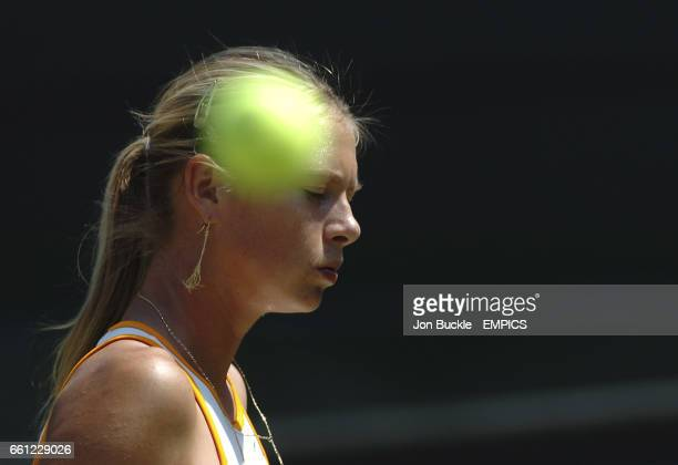 Maria Sharapova in action during her match against Nadia Petrova