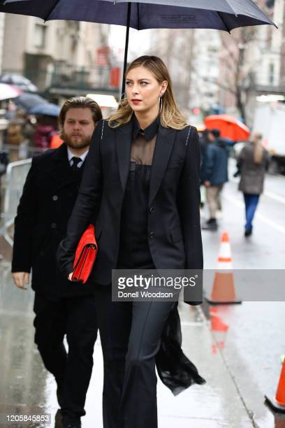 Maria Sharapova is seen outside of the Vera Wang show during New York Fashion Week on February 11 2020 in New York City