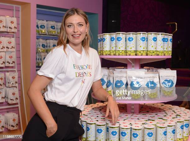Maria Sharapova launches Sugarpova at Kingdom of Sweets on June 27, 2019 in London, England.