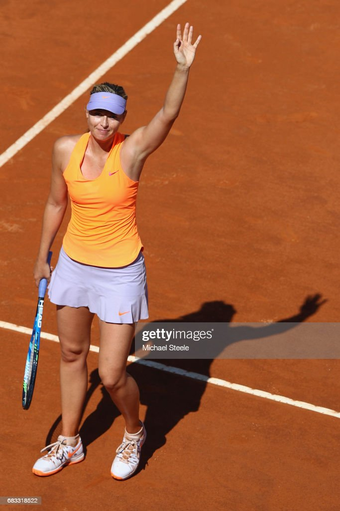 Maria Sharapova of Russia acknowledges the crowd after her straight sets victory during her second round match against Christina McHale of USA on Day Two of The Internazionali BNL d'Italia 2017 at the Foro Italico on May 15, 2017 in Rome, Italy.