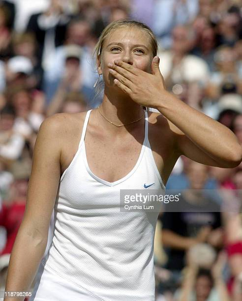 Maria Sharapova of Russia advances to the 2004 Wimbledon final with a 26 76 61 win over Lindsay Davenport of the United States on July 1 2004 at The...