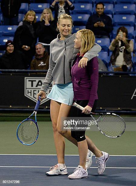 Maria Sharapova of Russia and comedian Chelsea Handler attend the Maria Sharapova and Friends tennis exhibition at UCLA on December 12 2015 in Los...