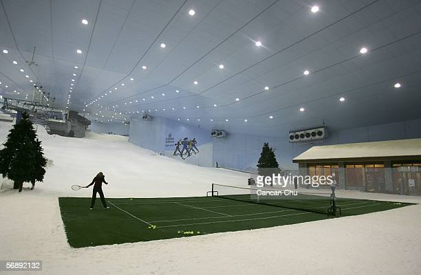 Maria Sharapova of Russia and Lindsay Davenport of the US play a tennis game during a photo call at the Ski Dubai indoor skiing center February 20...