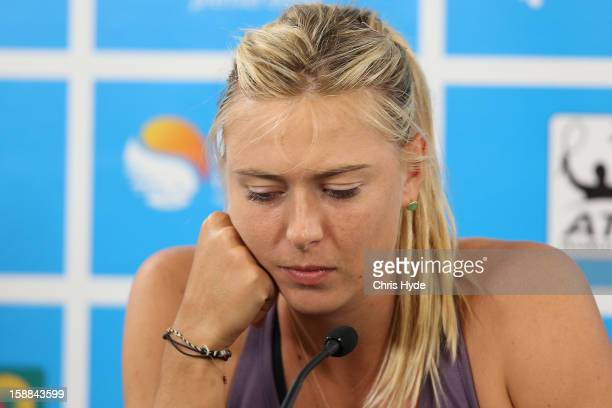 Maria Sharapova of Russia announces her withdrawal from the tournament on day three of the Brisbane International at Pat Rafter Arena on January 1,...