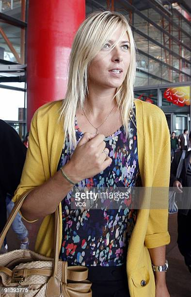 Maria Sharapova of Russia arrives at Beijing International Airport on October 4 2009 in Beijing China