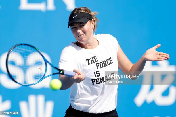 Maria Sharapova of Russia attends a training session ahead of the 2018 WTA Shenzhen Open on December 29 2017 in Shenzhen China